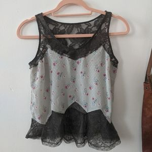 Deicy Japanese High End Silky Lace Floral Crop Top